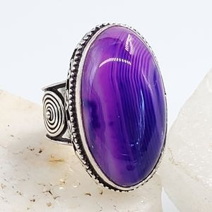 Purple Stone Natural Agate Silver Ring